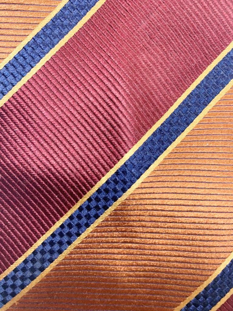 HENRY JACOBSON Peru Weinrot Dunkelblau Seide Krawatte Streifen MFE1021B #B22