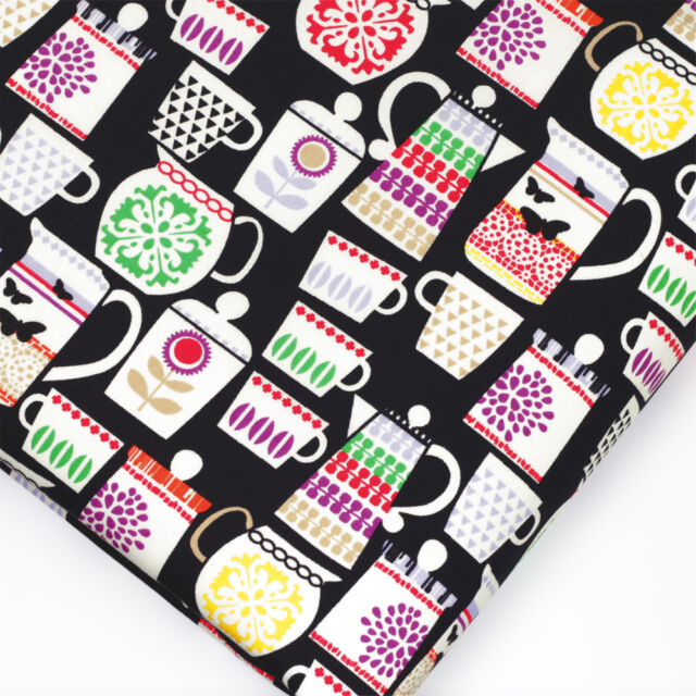 100% Cotton Fabric FQ. Funky Retro Floral Butterfly Coffee Cup Tea Mug Teapot P8