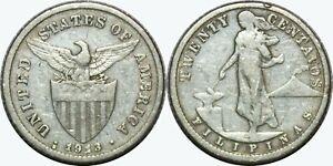 1913-S-S-US-Philippines-20-Centavos-RPM-Allen-11-09a-75-Silver-MX309