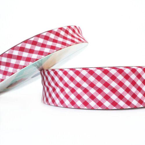 18mm-Rojo-plegado ribete de tela de algodón Sesgo Guinga vinculante