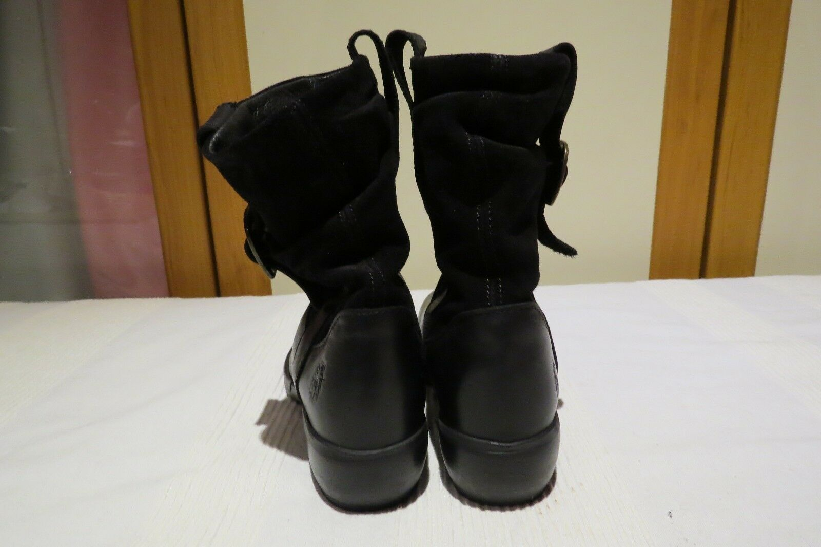 FLY LONDON 'MAHA' BLACK LEATHER & SUEDE BOOTS PULL ON BIKER BOOTS SUEDE RRP 118b45