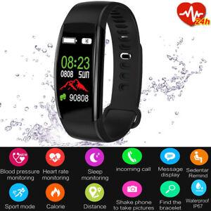 Fitness Armband mit Pulsmesser Wasserdicht IP68 Tracker Farbbildschirm Schwarz