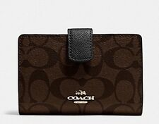 NWT Coach Signature Medium Corner Zip Wallet Brown/ BlackF54023