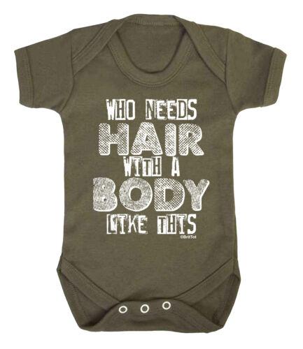 Qui a besoin de cheveux avec un corps comme ce Drôle Garçons Filles Bébé grandir gilet body