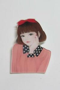 CG1331...ACRYLIC BROOCH or LAPEL PIN FREE UK P/&P LADY IN BLACK