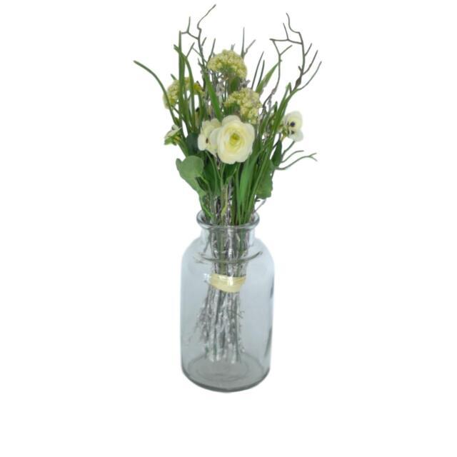 Artificial Garden Spring Wild Flower Bouquet with Large Bottle Display Vase  sc 1 st  eBay & Artificial White Flower Tall Window Indoor Spring Display ...