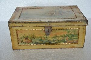Vintage-Fine-Colorful-Litho-Big-Size-Tin-Box-Collectible