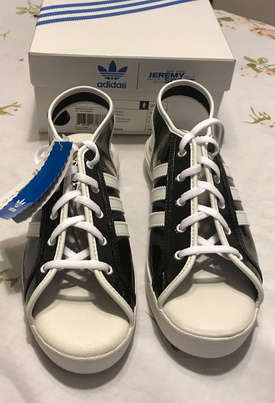 Rare Jeremy Scott Adidas Women's Open Toe Sandal Black White lace ups NIB sexy