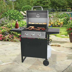 GAS GRILL 3 BURNER BBQ Backyard Patio Stainless Steel Barbecue Outdoor Cooking
