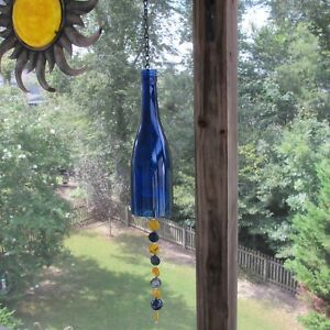 Details About Repurposed Homemade Blue Wine Bottle Wind Chime With Beads And Black Chain
