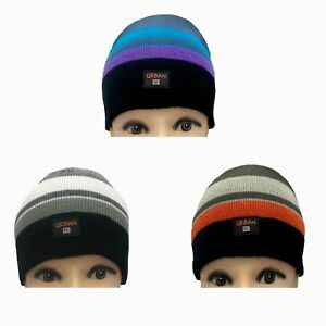 7c6b3771c98 UNISEX GIRL S BOYS STRIPED THERMAL BEANIE WINTER HAT WARM FASHION BY ...
