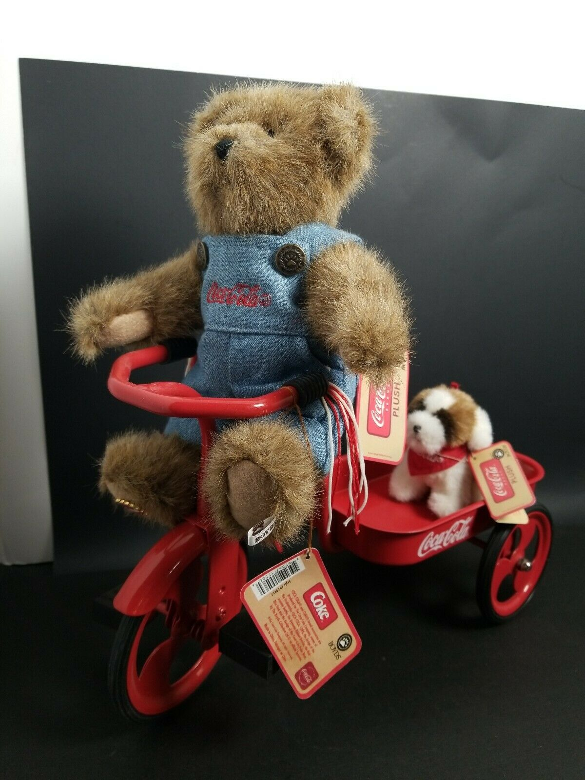 Vtg 3pc Boyds Bear Coca Cola rot Tricycle Wagon Craig And Dog ALL With Tags