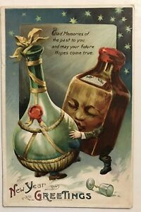 Unusual-Wine-amp-Whiskey-Bottles-Kissing-Antique-New-Year-Fantasy-Postcard-m903