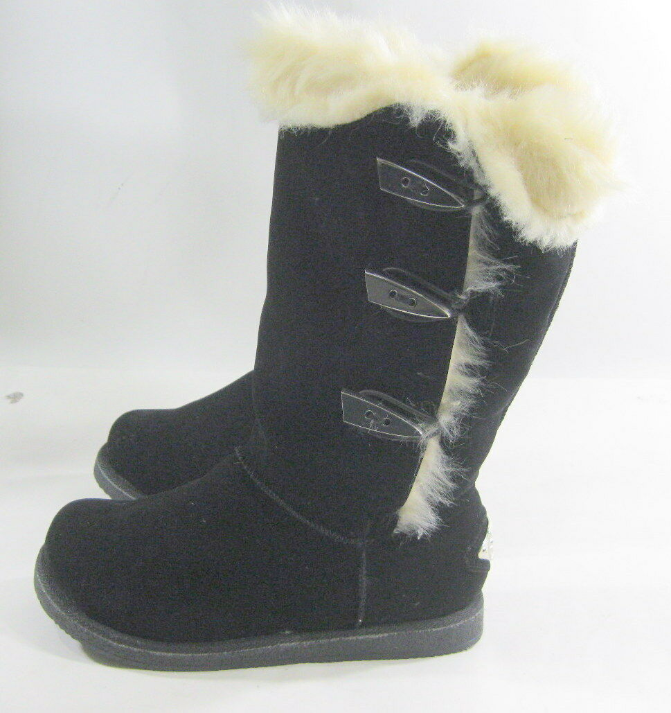 New Black Round Toe Winter Mid-Calf Boot Side gold Button Fur Inside Size 6.5