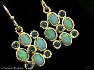E070-EXQUISITE-Genuine-9ct-Gold-SOLID-Natural-Opal-amp-Sapphire-Drop-Earrings