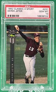 1992 Classic 4 Sport DEREK JETER #231 Rc Rookie 🏦 PSA 10 🏦 Yankees 🏦 HOF