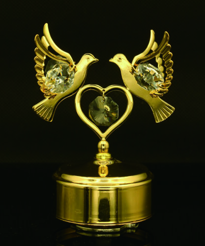SWAROVSKI-CRYSTAL-ROTATING-LOVE-DOVES-MECHANICAL-MUSIC-BOX-24K-GOLD-PLATED