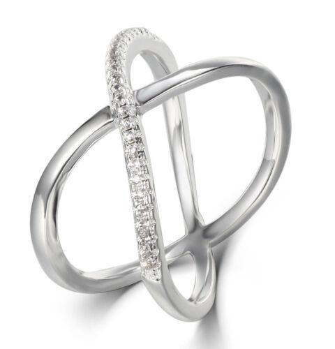 Cross X .925 Sterling Silver CZ Double Band Celebration Ring Size 3-12 SE1613E