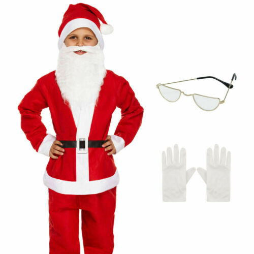 Kids Full Santa Costume w//Accessories Father Christmas Outfit for Boys 4-12 YRS