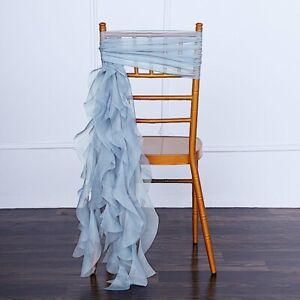 Dusty Blue Chiffon Curly Chair Sash Wedding Party Decorations Wholesale Sale Ebay