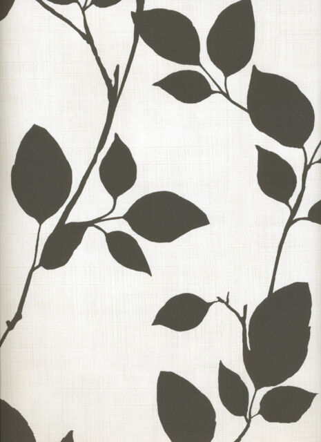 Light Black Leaves and Branches on Off White Contemporary Wallpaper 70520
