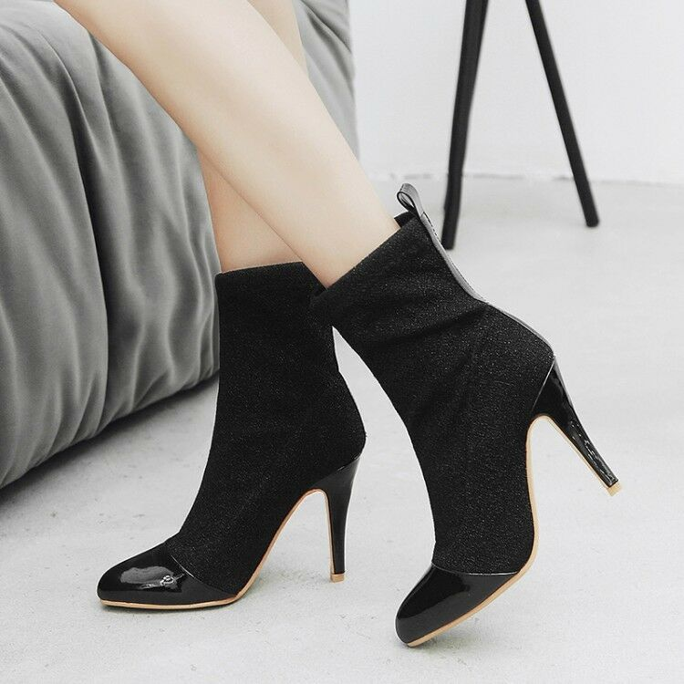 Women Pointy Toe Fashion Stilettos High  Heels Pull On Ankle Boots Winter shoes