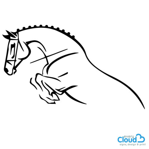 Horsebox Lorry Trailer Graphic Sticker Decal Vinyl Lineart Show Jumping Horse