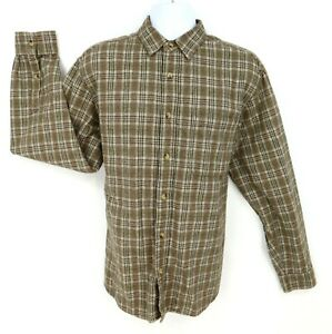 Woolrich-Shirt-Casual-Button-Up-Mens-Size-L-16-34-Brown-Plaid-Cotton-Long-Sleeve