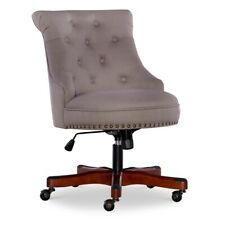 Linon Sinclair Wood Upholstered Office Chair In Dolphin Gray