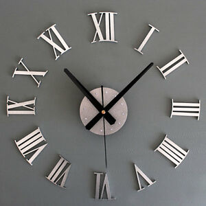 Metallic Diy Wall Clock 3d Roman Numerals Stickers Home