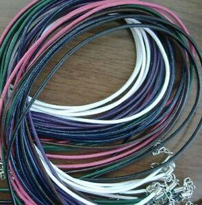 Halsband-Lederband-FARBEN-echtes-Leder-Kette-Band-Halskette-1-5-mm-ca-45-cm-NEU