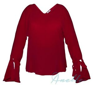 Very-Ladies-Chic-Red-Blouse-Gathered-Fluted-Sleeve-with-Pretty-Ties-V-Back-BNWT