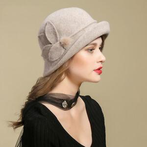 Details about Upturn Brim Womens Gatsby Stlye Wool Cloche Bucket Winter  Dress Winter Hats 5753ac0fb