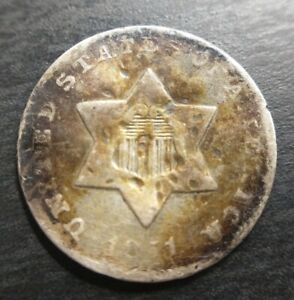 1851-O Silver Three Cent Piece 3cp Trime Extremely Fine XF Details Toned Damaged