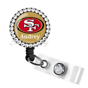 Retractable Badge Reel Name ID Pull Clip Holder Lanyard SF San Francisco 49ers