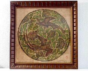 """Vintage Chinese Asian Stone Rubbing Titled """"BIRDS"""", signed w/ Red Seal & Label"""