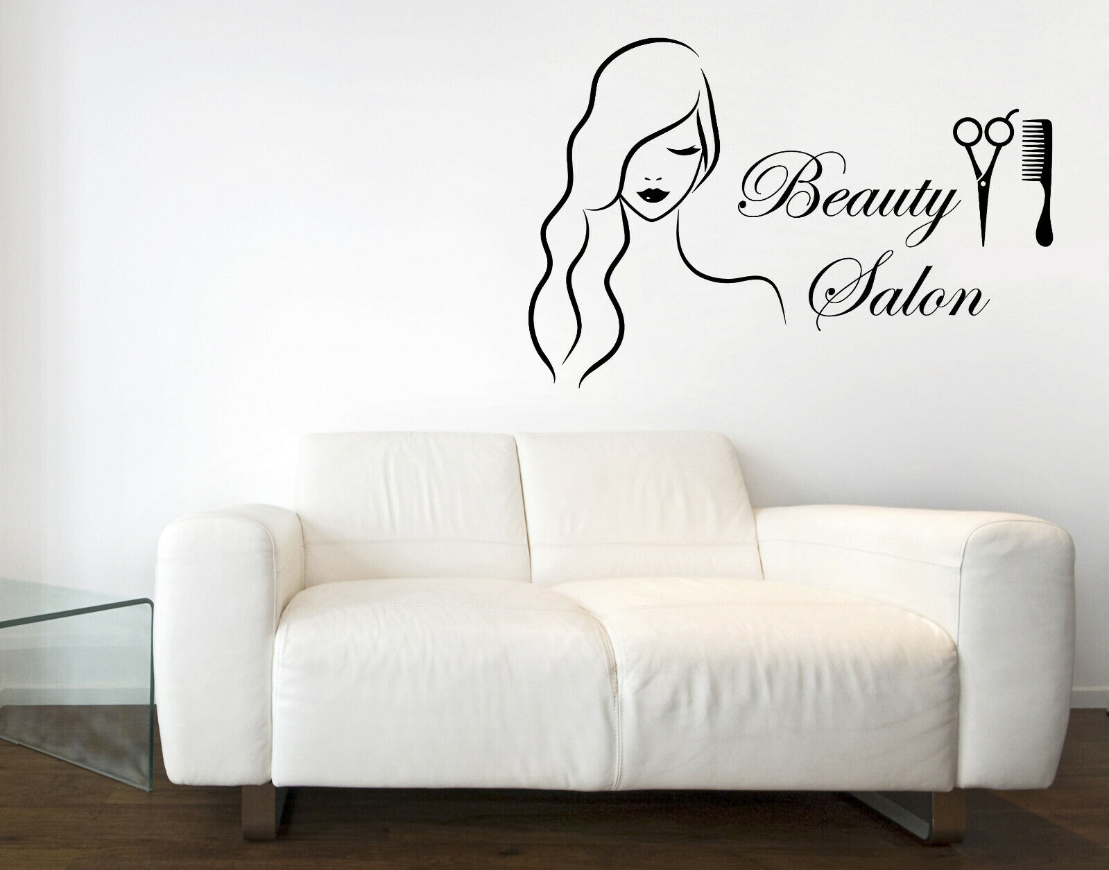 Wall Vinyl Decal Beautiful Woman Beauty Salon Sign with Barber Tools (n1069)
