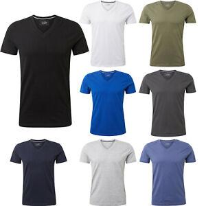 TOM TAILOR Denim Herren Sommer T-Shirt V-Neck Basic Baumwolle 108172