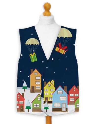 Christmas Novelty Waistcoat Fun Fancy Dress Informal Santa Dropping Presents