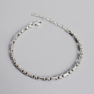 NEW-2mm-Retro-Women-039-s-Real-S925-Sterling-Silver-Square-Box-Rolo-Chain-Bracelets