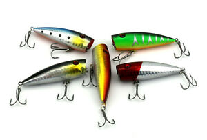 5pack-Fishing-Lures-Baits-7cm-Hard-Popper-Crank-baits-6-Hook-Saltwater-Tackle