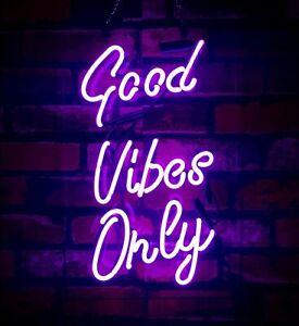"New Good Vibes Only Bar Pub Logo Acrylic Neon Light Sign 14/"""