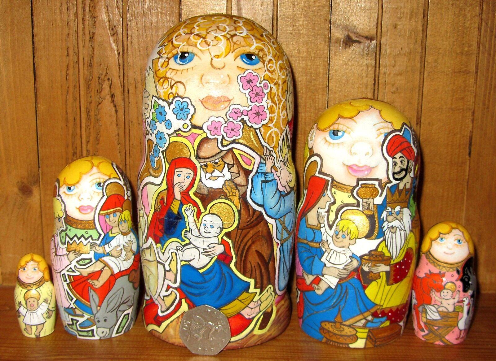 Natividad Niño Jesús María José Ángel MATRYOSHKA Nesting Dolls 5 ruso Firmado