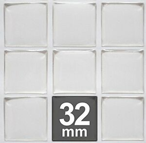 32mm Square Clear Epoxy Stickers FREE SHIPPING Tiles Domes Dots Seals