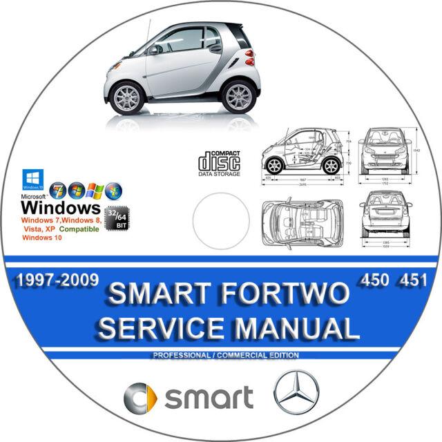 smart fortwo 450 451 service repair manual 1997 2012 on cd 01 02 03 rh ebay com 2007 Smart Fortwo 1.0 Turbo 2006 Smart Fortwo Interior