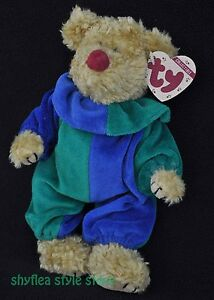 Jointed Teddy Bear Clown Court Jester TY Attic Treasures Picadilly ... 3aab9ce9935d