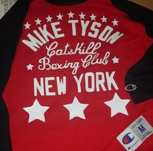 New champion mike tyson 3//4 long sleeve york boxing tshirt tee shirt catskill