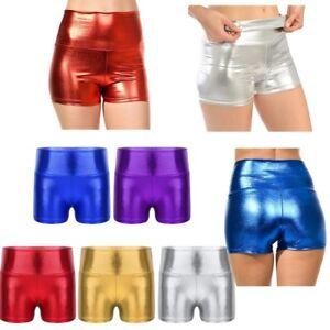 71939d1302e0 Kids Girls Shiny Metallic Boxer Shorts High Waist Dance Gym Sports ...