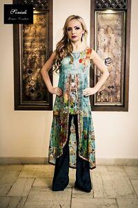 50b3e6475c Image is loading Pakistani-Indian-designer-Silk-digital-print-blue-with-
