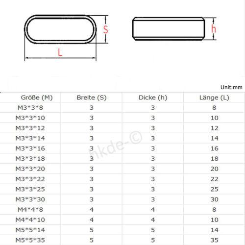 Passfeder Federkeile Nabenfeder Wellenfeder Form A Edelstahl A2 DIN 6885 M6~M12